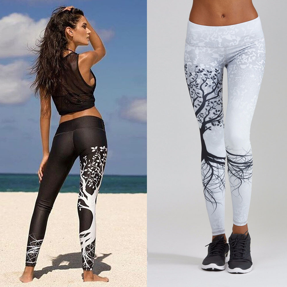 Tight Women Tree Printed Dance Sports Yoga Workout Gym Fitness Leggings  Exercise Athletic White Black Pencil Pants sports(China)