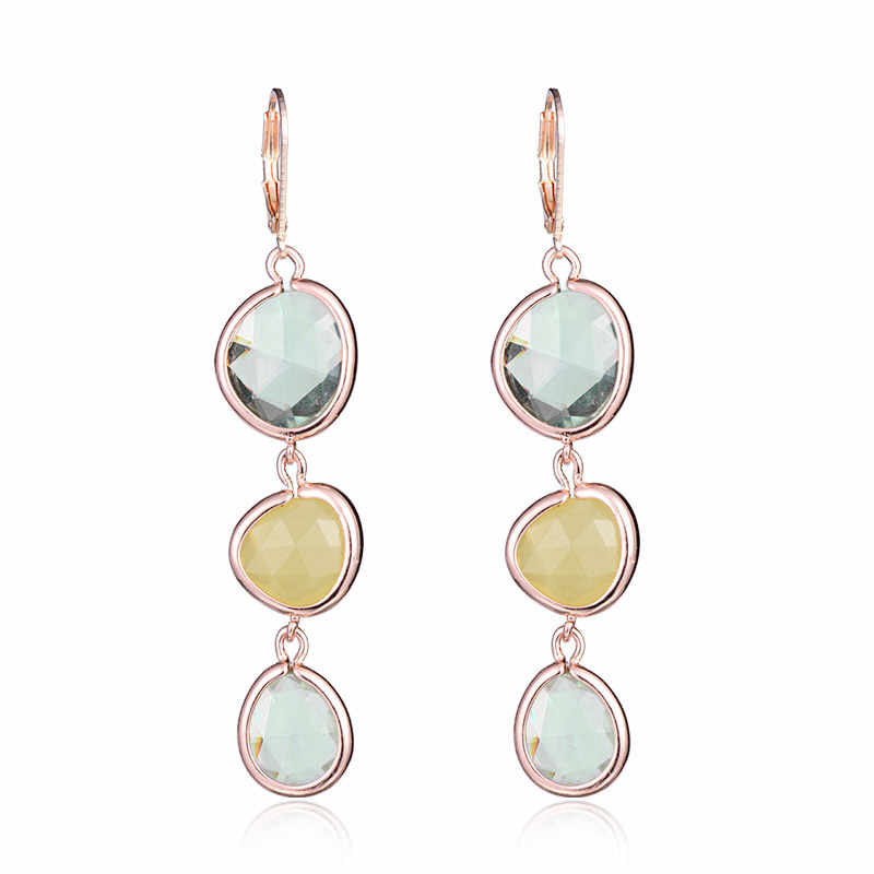 Drop Earrings for women Fashion Jewelry Colorful Crystal Resin Stone Long Dangling Earrings Femme brincos 2018