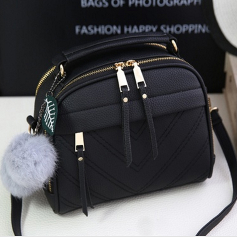 2019 Girl Messenger Bags With Fair Ball Tassel Fashion PU Leather Handbag For Women Female Shoulder Bags Ladies Party Handbags