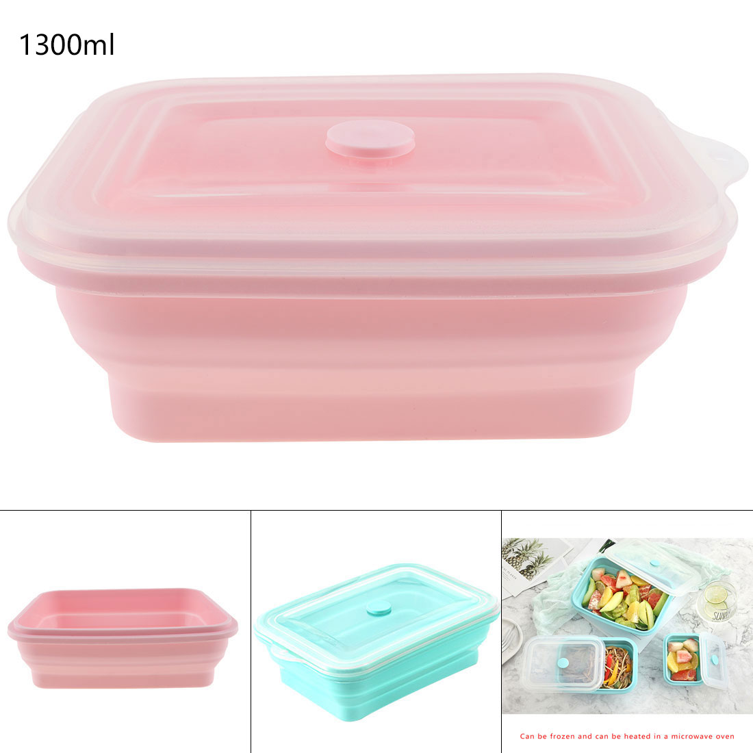 Silicone 1300ML Portable Lunchbox Rectangle Scalable Folding Bento Box Eco Friendly Fresh Fruit Food Container Kitchen Tool in Lunch Boxes from Home Garden