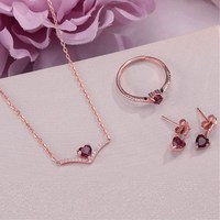 Fine Jewelry 100% 925 Silver Sets for Women Garnet 100% Natural Heart Love Red Gemstone Ring Pendants Bracelet CCV004 1