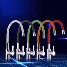 Becola frete grátis Novo projeto da cozinha torneira de água quente e fria da torneira latão cromado misturador torneira giratória B-9107