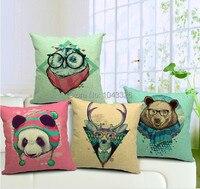 O envio gratuito de Atacado 1 pcs 45 cm x 45 cm cervos panda urso coruja sofá carro cadeira banco bar lombar almofada travesseiro