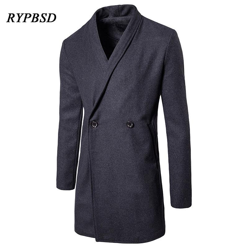 2018 automne et hiver laine mélange manteau hommes à manches longues double boutonnage solide gris Slim affaires casual Trench laine pardessus