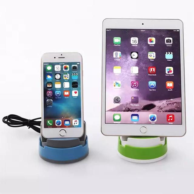 2016 nuevo para el iphone cargador de muelles sostenedor del teléfono del coche giratoria 360 base de carga con cable usb para iphone 5 6 7/7 más modelos