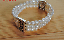 3-4mm natural pearl bracelet with three rows of accessories made of elastic stretch line(China)