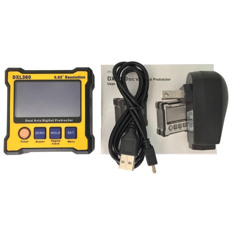 High accuracy Dual/signal axis DXL360 Digital Protractor Inclinometer Level lixf dxl360s digital lcd protractor inclinometer single dual axis level box 0 01 degree
