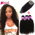7a Mongolian Kinky Curly Hair With Closure Afro Kinky Curly Hair 3 Bundles with Closure Kinky Curly Virgin Hair with Closure