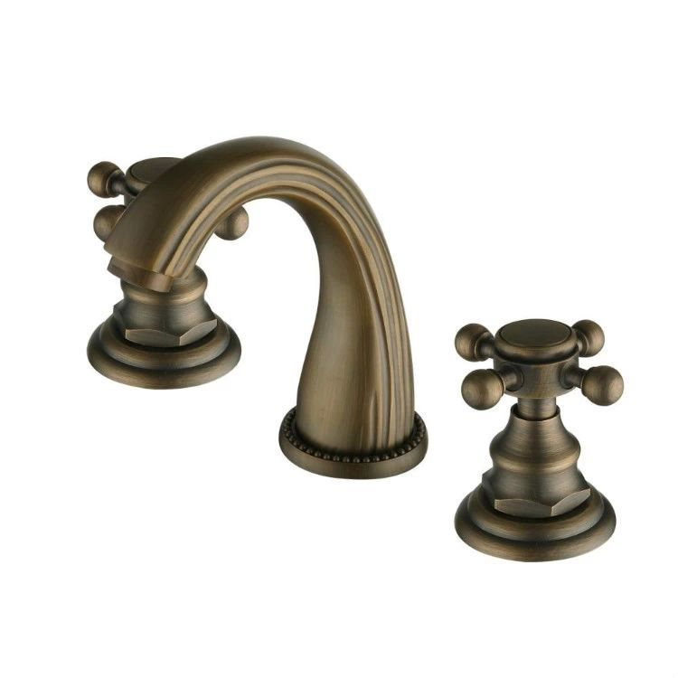 Deck Mounted Widespread Antique Brass Bathroom Basin Faucet Dual Handles Mixer Hot and Cold Wholesale Retail Promotion  HJ-606 hot sale wholesale and retail promotion deck mounted widespread bathroom waterfall basin faucet dual handles mixer tap
