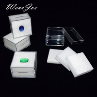 Wholeale Diamond Storage Organizer Clear Rectangle Gem Jars Box Gemstones Packaging Box Pendant Jewelry Combo Gift Display Case