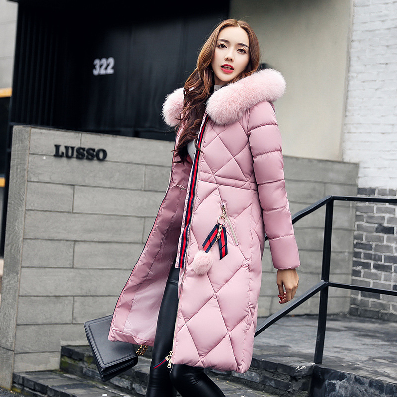 Big fur winter coat thickened   parka   women stitching slim long winter coat down cotton ladies down   parka   down jacket women &5