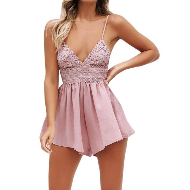 de8d9790beb Elegant Summer Rompers For Women Fashion Bowknot Backless Beach Jumpsuit  Ladies Sexy Sleeveless V-Neck Lace Playsuit Shorts  JO
