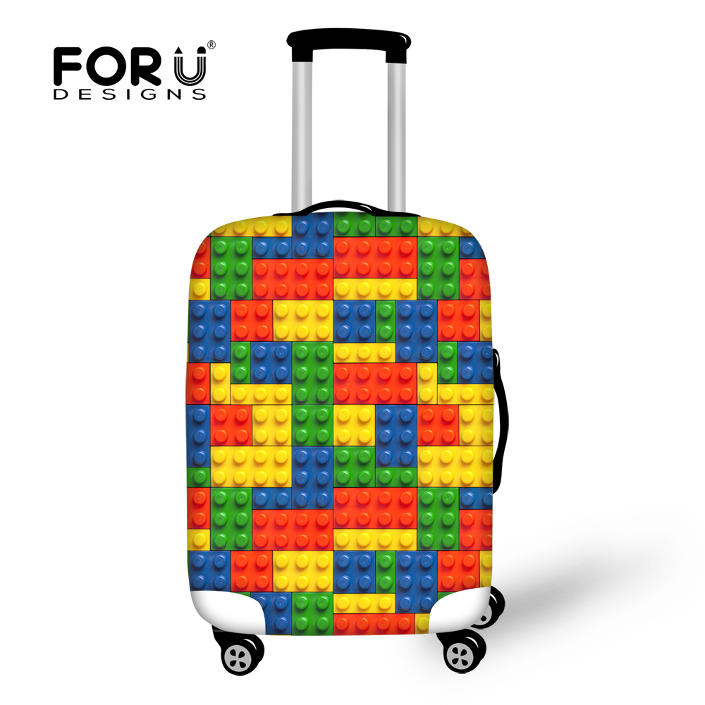 FORUDESIGNS 3D Tetris Prints Luggage Protective Cover For 18-30 Inch Suitcase Spandex Waterproof Rain Cover Travel Accessories