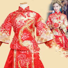 Angelababy Huang XiaoMing Chinese Traditional Wedding Hanfu Costume Couple Sets Republican Period Wedding Bride and Groom Hanfu