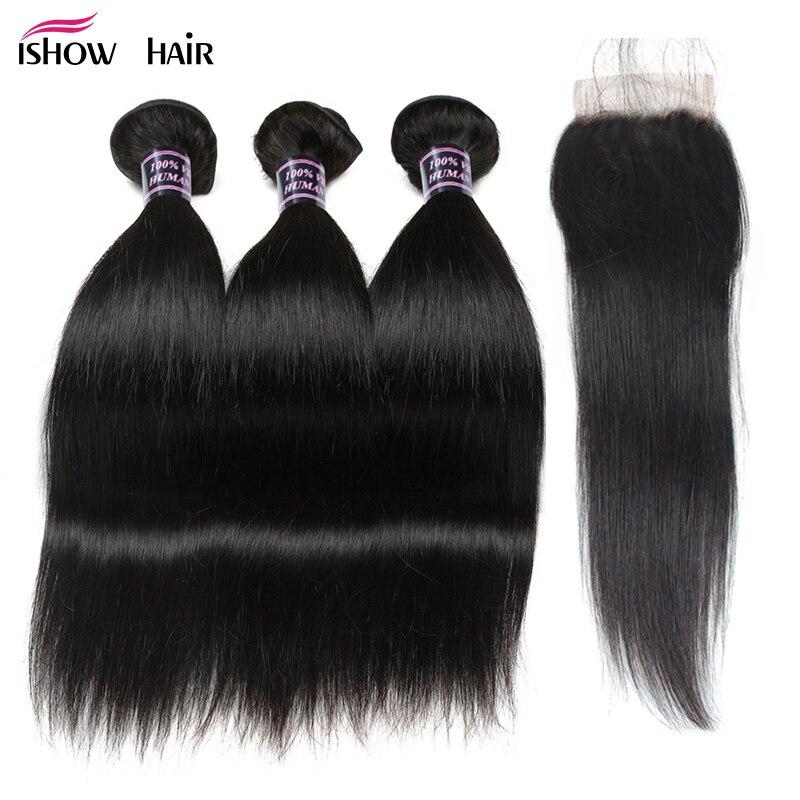 Ishow Cheveux Raides Bundles avec Fermeture 100% Faisceaux avec Fermeture de Cheveux Humains Brésiliens Cheveux Weave Bundles avec Fermeture Non Remy