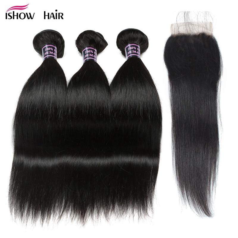 Paquetes de pelo liso Ishow con cierre 100% paquetes de cabello - Cabello humano (negro)