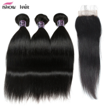 Ishow Straight Hair Bundles with Closure 100% Human Hair Bundles with Closure Бразилиялық Шаш Таспалары