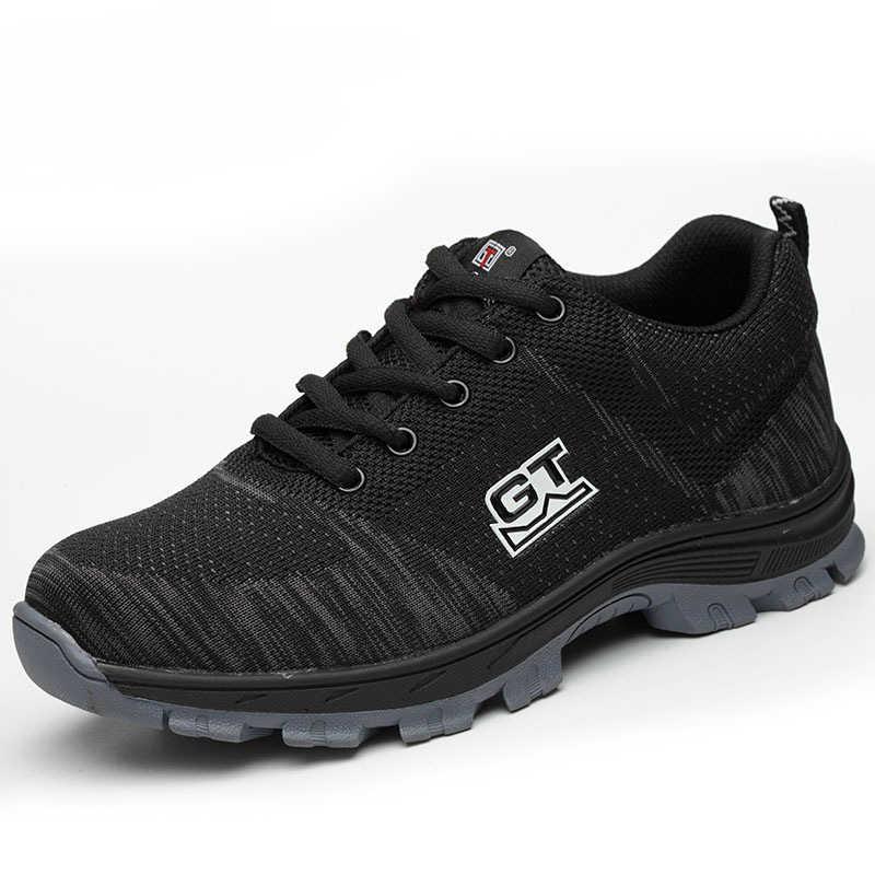 4a8b5d2f175da Men's Plus Size Breathable Mesh Steel Toe Outdoor Safety Shoes Men  Industrial & Construction Puncture Proof Work Shoes