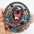 Бесплатная доставка винтажный стиль красочные горный хрусталь кристалл овальный брошка роскошные ювелирных изделий