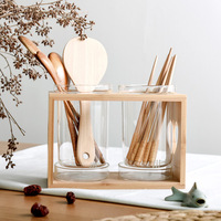 Japan Style Glass Chopsticks Containers with Wooden Holder Kitchen Spoon Pots Container Home Kitchen Storage Organizer