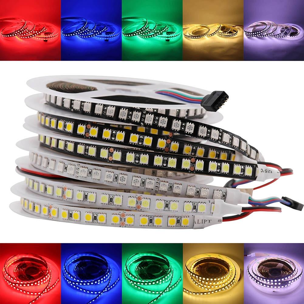120LEDs/m DC 24V SMD 5050 LED Strip Light Flexible LED Tape Non Waterproof 5m 600 Leds Tape Rope Lamp RGB Warm White Newest