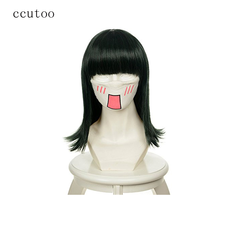 ccutoo One piece Nico Robin 16 Dark Green Straight Flat Bangs Synthetic Hair Heat Resistance Fiber Cosplay Full Wigs Perucas