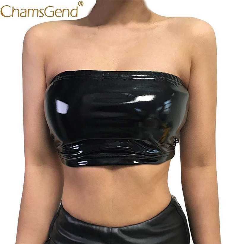 03e3527659 Chamsgend Shirt Newly Design Women Sexy PU Leather Tube Tops Lady Off  Shoulder Strapless Crop Top