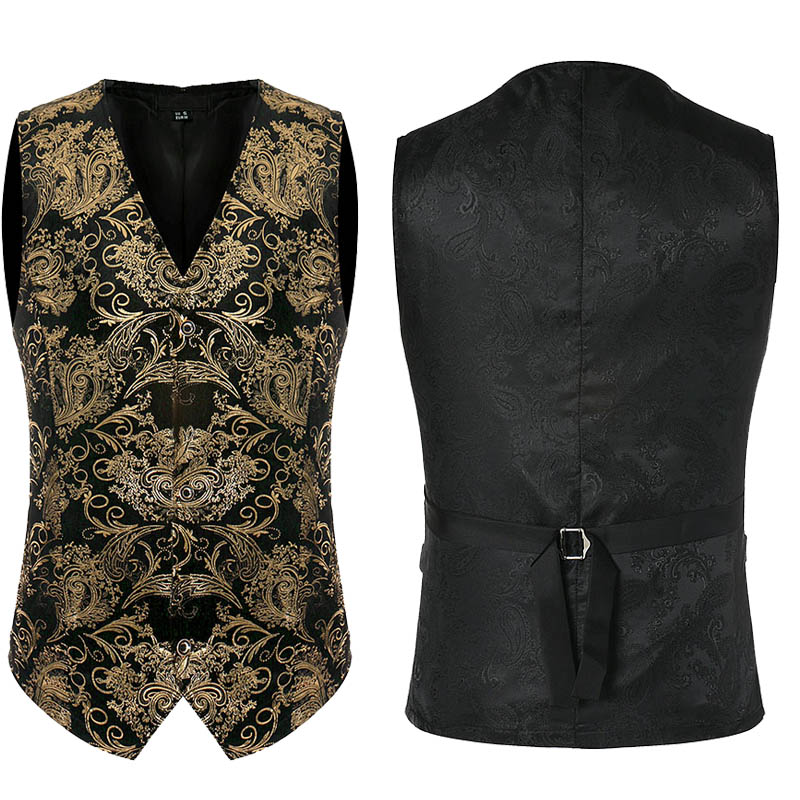 Shiny Black Golden Flower Print Vest Blazer Suit Waistcoat Men's Metallic Slim Fitted Single Breasted Top Singer Costume For Men