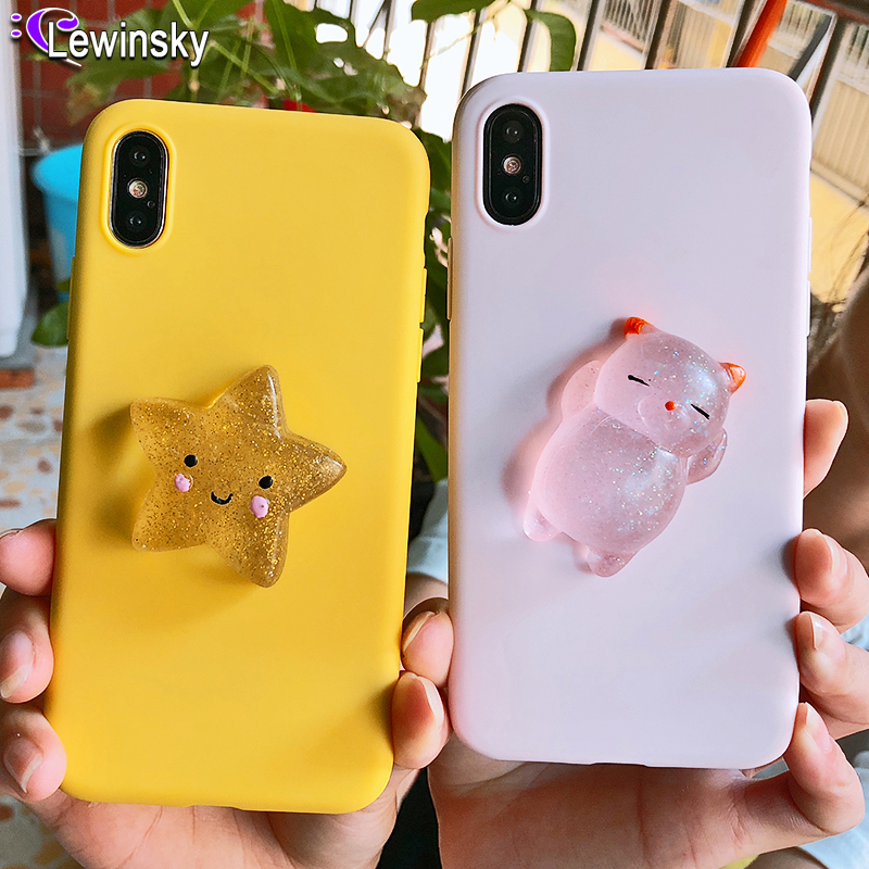 Squishy Cat Soft Phone Case for iPhone 5 5S SE X XR XS Max Cute Case for iPhone 7 8 6 6s plus 3D Doll Phone Accessories Capa NEW image