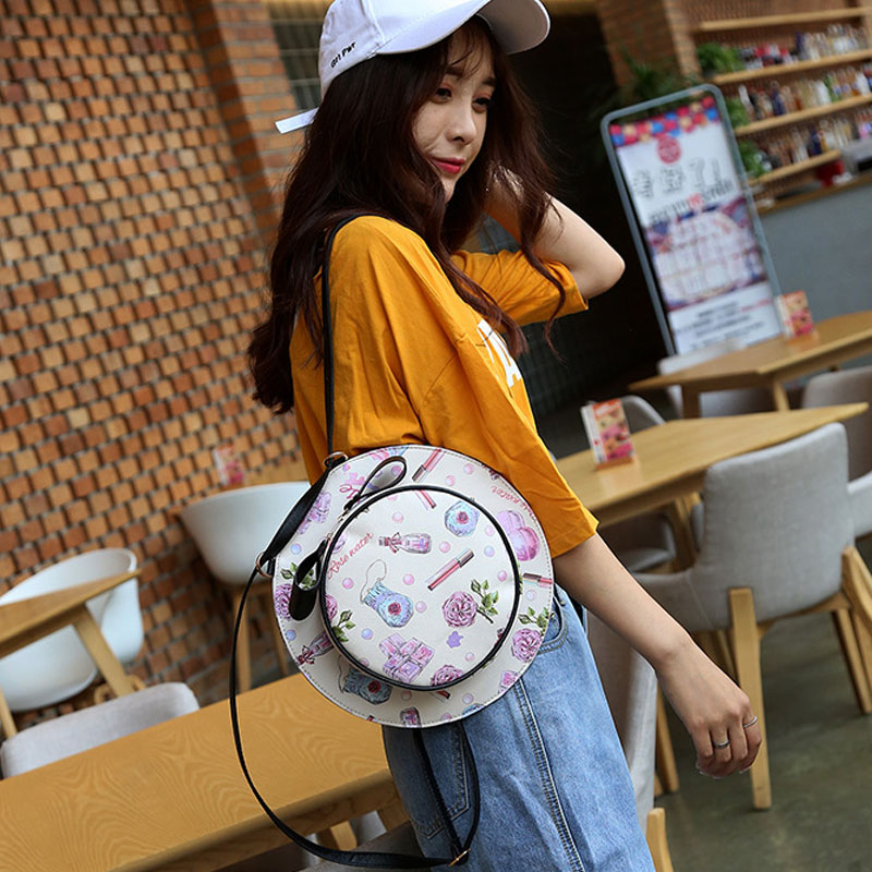 Women Bags Fashion Travel Backpack Printing PU Leather Backpacks for Girls Cap Back Pack