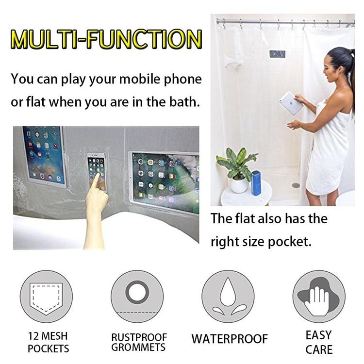 Прозрачная занавеска для душа с карманами ванны держатель телефона