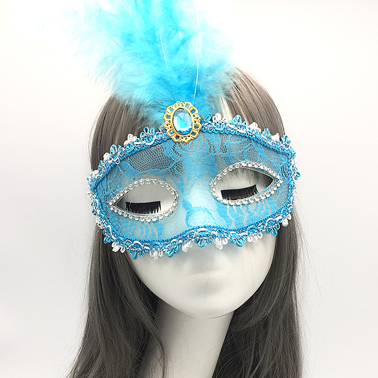 Party Catwalk Makeup Dance Half faced Lace Sexy Transparent Masks Halloween Feather Mask in Party Masks from Home Garden