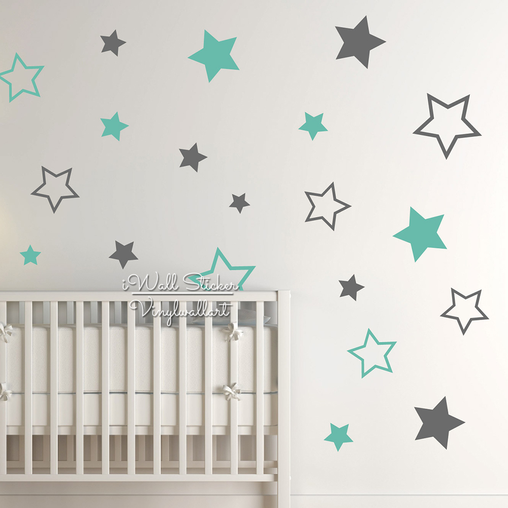 Baby Nursery Stjerner Wall Sticker Star Wall Decal Børn Rum Wall Sticker Fjernbar Kids Room Decors High Quality Cut Vinyl N22