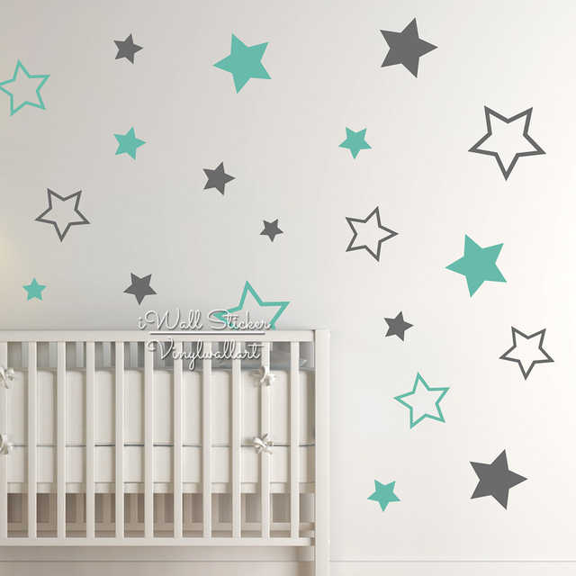 Baby Nursery Stars Wall Sticker Star Wall Decal Children Room Wall Sticker  Removable Kids Room Decors