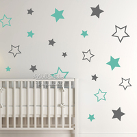 Baby Nursery Stars Wall Sticker Star Wall Decal Children Room Wall Sticker Kids Room Easy Wall