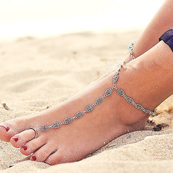 Bohemian Boho Silver Antalya Hollow Flower Salve Anklet Bracelet Foot Sandal Beach Ankle Chain Wholesale 6Pcs