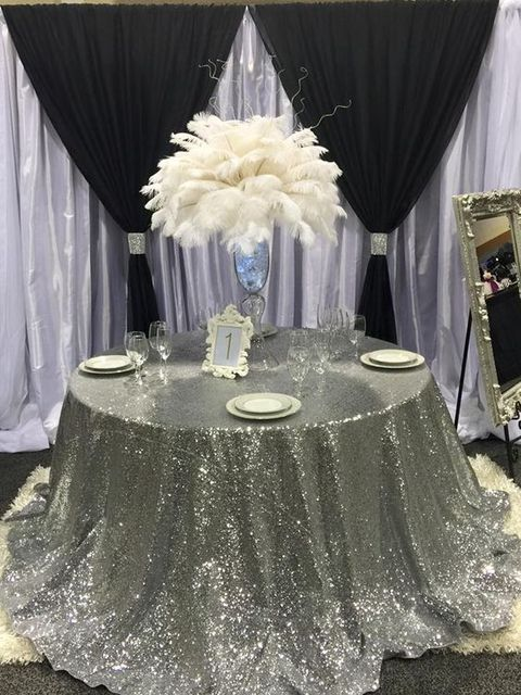 Merveilleux Factory Direct Wholesale 10PCS Wedding Decoration Glitter Silver Sequin  Tablecloth 120 Round Sequin Table Cloth Table