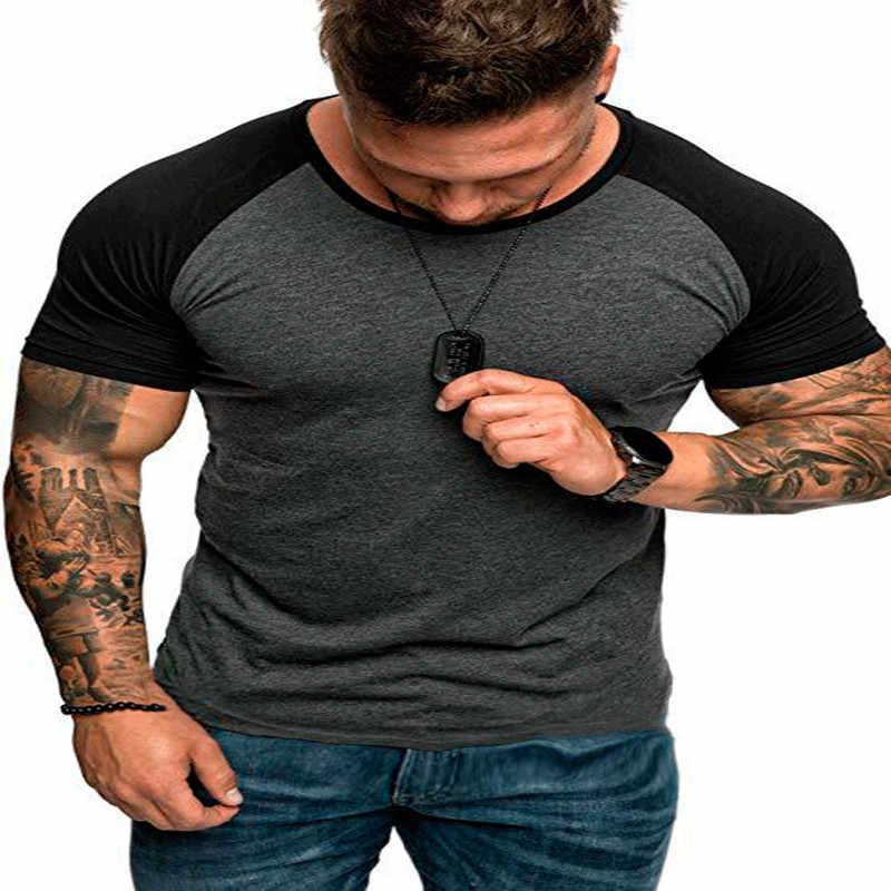 2019 패치 워크 T 셔츠 남성 하라주쿠 남성 T 셔츠 캐주얼 코튼 반소매 티셔츠 슬림 피트 힙합 여름 티셔츠 옴므