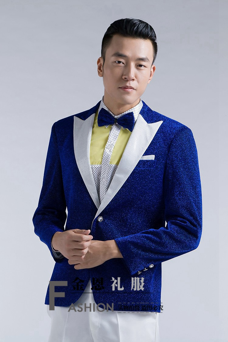 Bright silk male master Bright silk Dresses Stage Costumes Men terno Suit MC Host Clothing Singer Suits & Blazer jacket