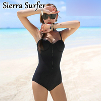 2018 Women S Swimwear Solid Bathing Clothes One Piece High Waist Dress Polyester Biquini One Piece