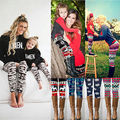 Christmas Womens Kids Family Match Casual Skinny Leggings Slim Pants Trousers Mother Daughter Family Matching Clothes