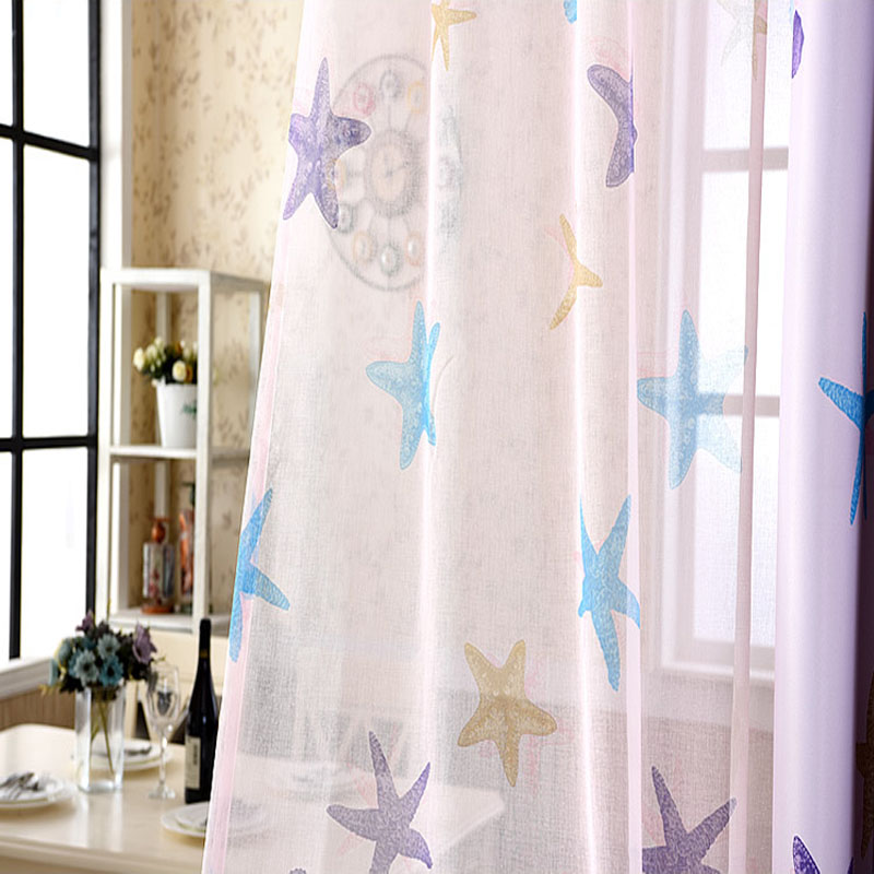 Online Shop Blue Purple Ocean Sea Starfish Shell Kids Curtains Cartoon  Bedroom Curtains Tulle Sheer Curtains Child Living Room Window Drapes |  Aliexpress ...