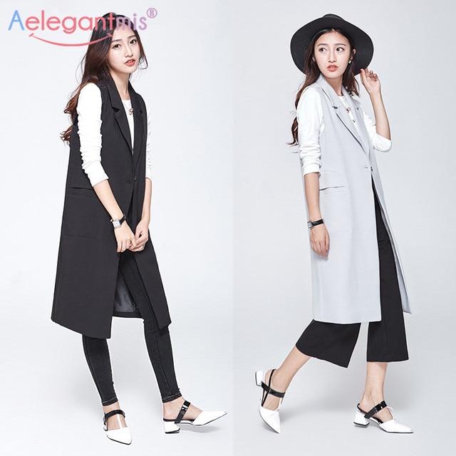 Aelegantmis Fashion Pockets Long Blazer Vest Women Autumn Waistcoat Turn-down Collar Sleeveless Jacket Elegant Office Lady Coat 3