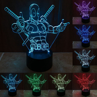 7 Color Changing Hero Deadpool 3D Light LED Night Light USB Touch LED Decorative LED Table