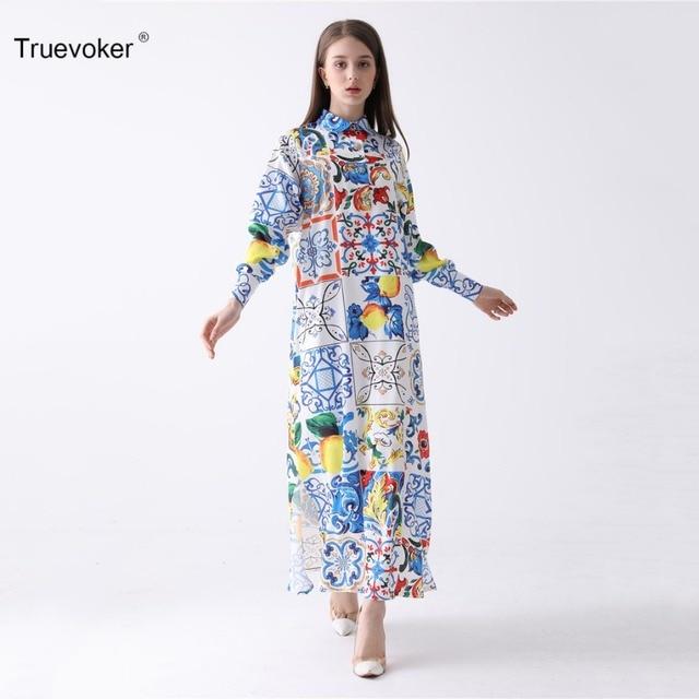 Truevoker Designer Maxi Dress Women s High Quality Turn Down Collar Long  Sleeve Multicolor Abstract Printed Ankle 58b013e89b70