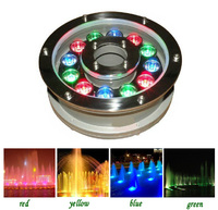 100 шт./лот высокая мощность светодиодный прожектор 9 Вт 12 Вт IP68 белый rgb плавать бассейн фонтана света DC 12 В ночь пруд украшения лампа