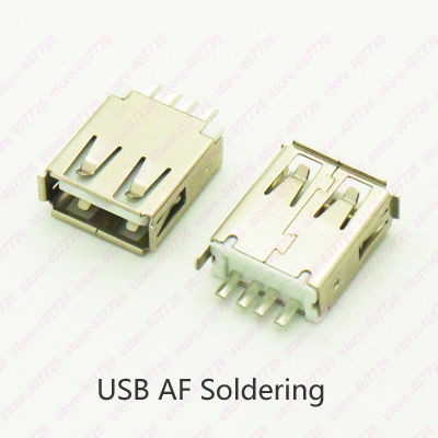 10PCS USB 2.0 Jack Female Connector USB 180 Degree Soldering Type Charging Socket cltgxdd us 163 new double usb 3 0 connector usb socket two layer usb3 0 female jack af type