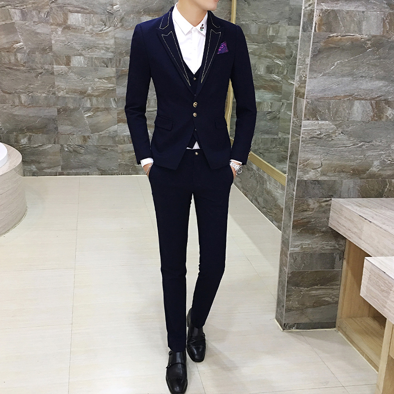 Aliexpress.com : Buy Black with Gold Suit Slim Fit Prom Homme Men ...