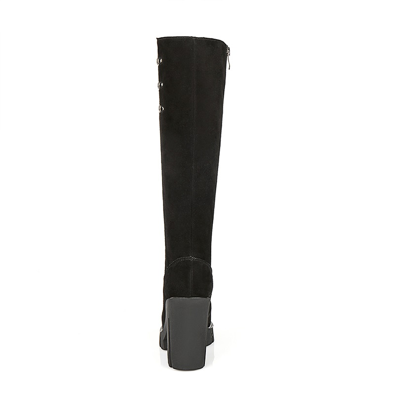 Black Carré Chaussures Femmes Décoration Plate Qualité Noir Pour Super Talon De Mode Hautes Rond Haute Supérieure Bottes Zip Métal Bout En Égérie forme Bfqvwq