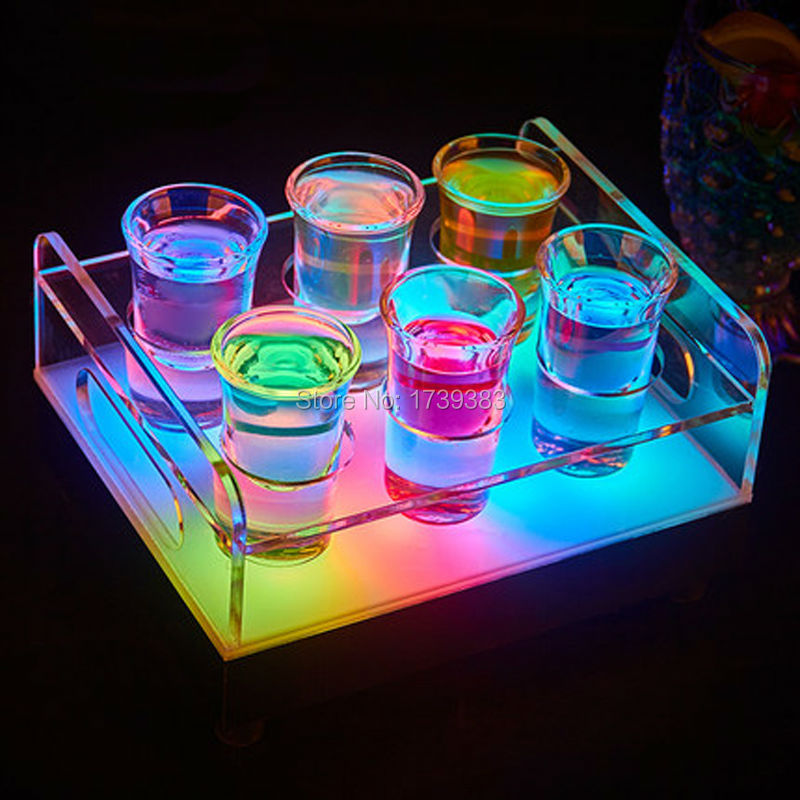 Free Ship Color changeable LED 6/12 Holes Shot Glass Bullet Cup drinkware Holder light up Wine rack ice buckets for bars/events-in LED Table Lamps from Lights & Lighting    1